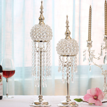 Europe Silver-plated Candlestick Wedding Table Centerpiece Decoration Candlestand Modern Fashion Crystal Candle Holders WZF190