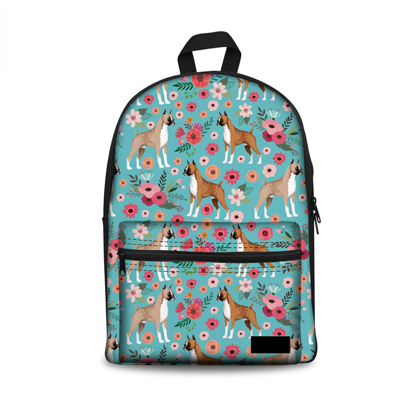 Noisydesigns Schoolbags Primary Student Pit Bull Dog Flower Girls College Knapsacks Children Canvas School Bag Womens Backpacks