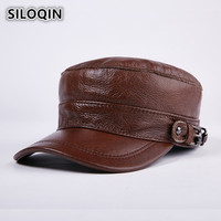 SILOQIN New Winter Men's Leather Hat Thicker Warm Genuine Leather Military Hats Snapback Brands Cowhide Caps For Men Women Bone