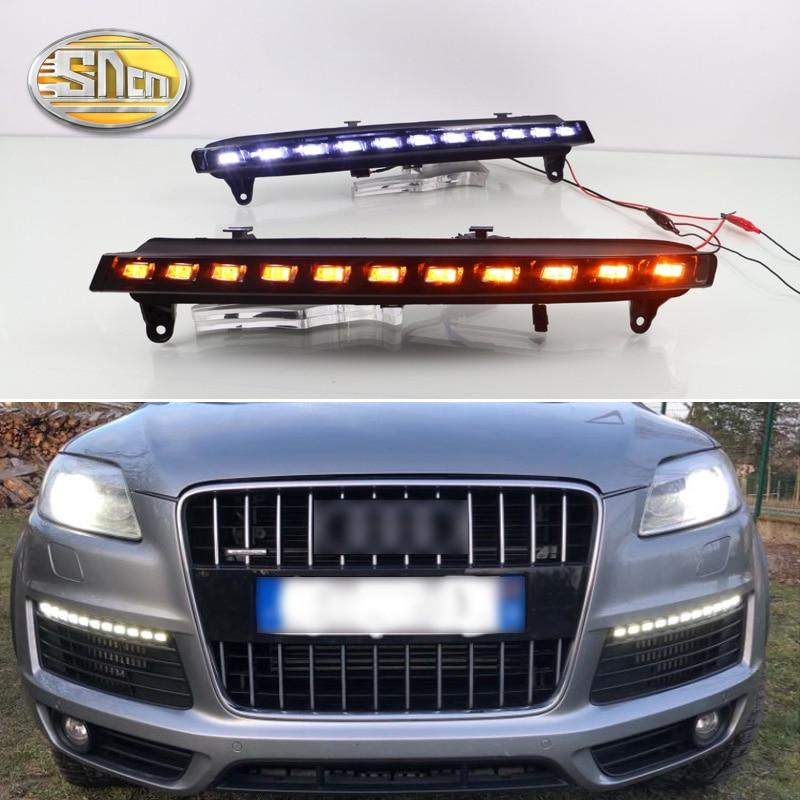 2 шт. для Audi Q7 2006 2007 2008 2009 желтый сигнал поворота Функция автомобиля DRL Водонепроницаемый 12 В светодио дный днем ходовые огни противотуманные ...