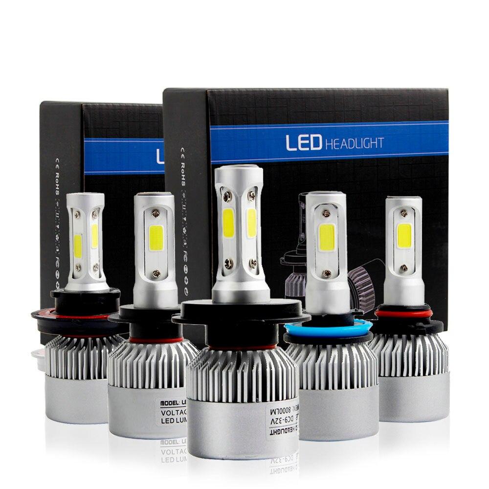LUCKZHE 2 Pz LED H4 H7 H8 H11 9005 HB3 9006 HB4 H13 9004 9007 COB S2 Auto Car Faro 72 W 8000LM 6500 K