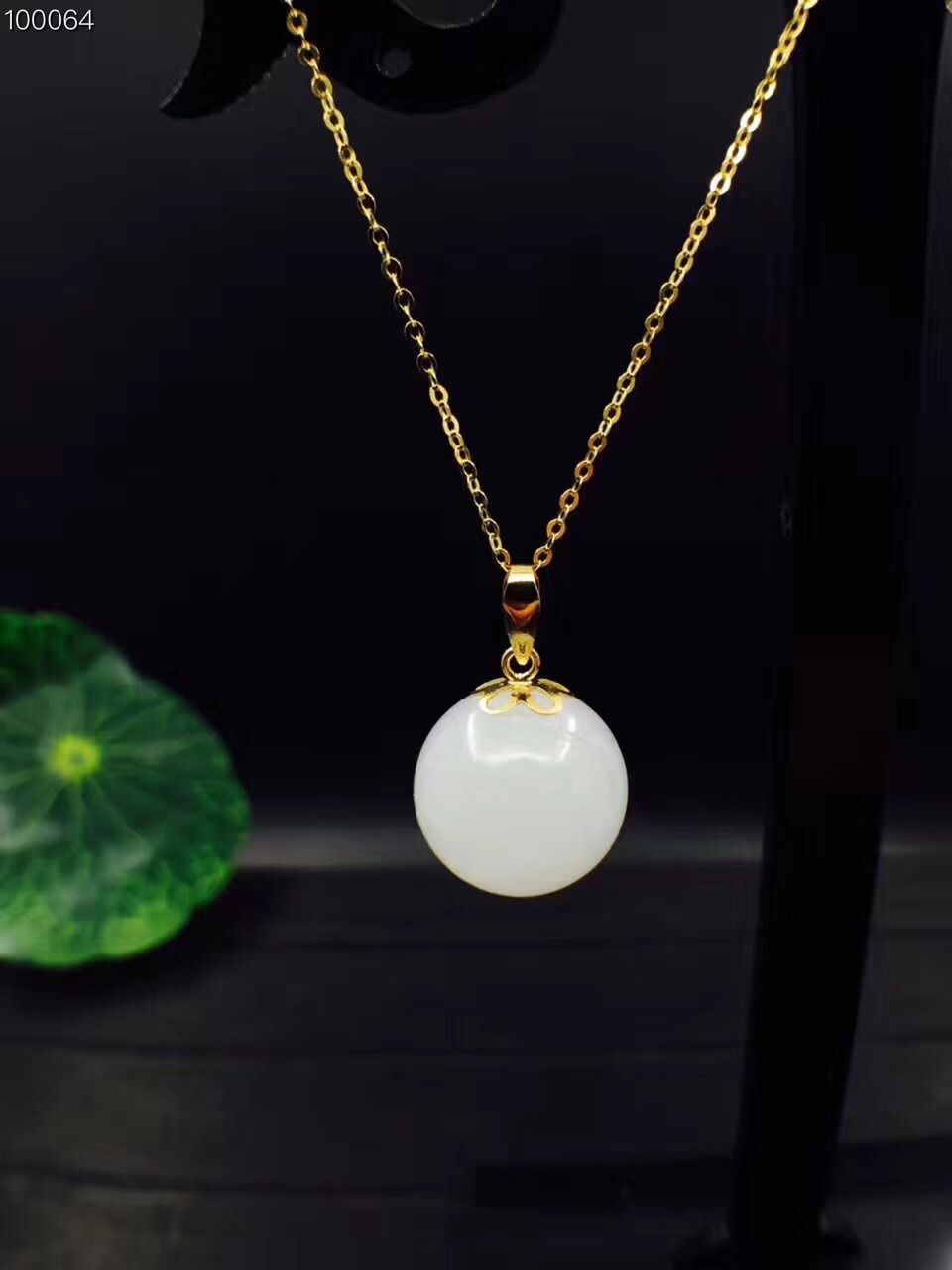 Fidelity natural 12.5mm white Hetian jade pendants & 18k yellow gold simple fine jewelry for women party natural gemstone fine jewelry collection real 18k white gold natural green jade gemstone animal shape pendant necklace fine pendants