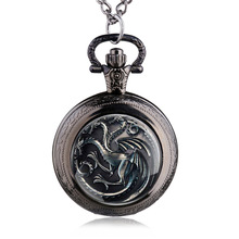 Antique House Targaryen A Song of Ice and Fire Family Crest The Game of Thrones Pocket Watch Pendant Necklace Jewelry Watches