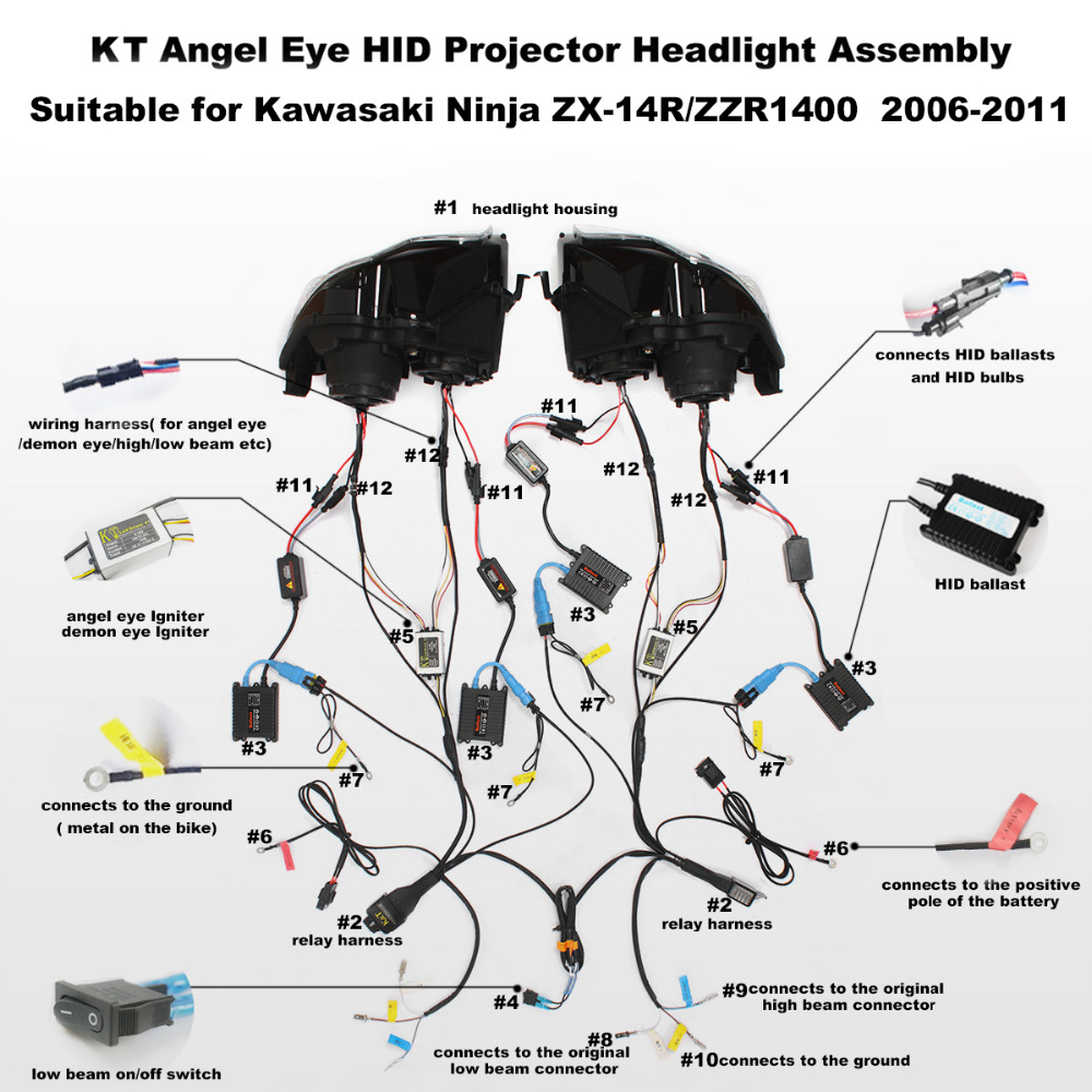 KT Headlight for Kawasaki Ninja ZX 14R/ZZR1400 ZX14R 2006 2011 LED Angel  Eye Motorcycle HID Projector Assembly 2009 on Aliexpress.com | Alibaba Group