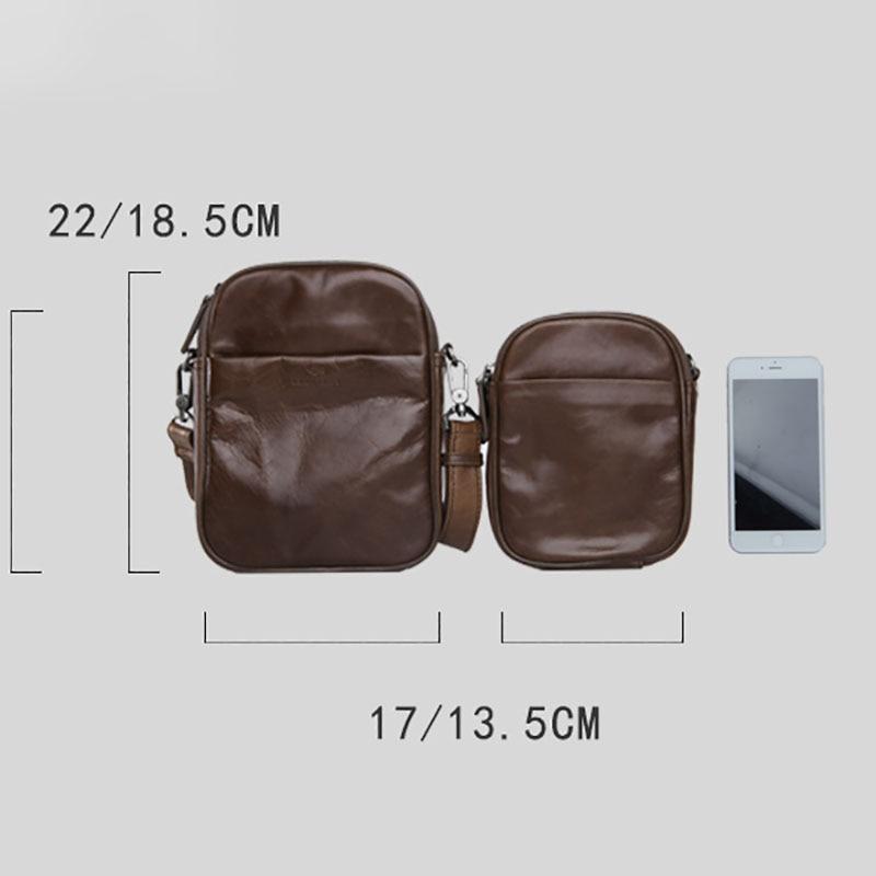 Image 5 - AETOO Mens leather Oblique cross Baotou layer cowhide mini bag  packets shoulder bag mobile phone bag Japanese small bagCrossbody Bags