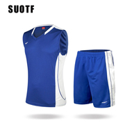 SUOTF High end sports training suit basketball clothes suit breathable mesh jersey basketball shorts paul george fresno state