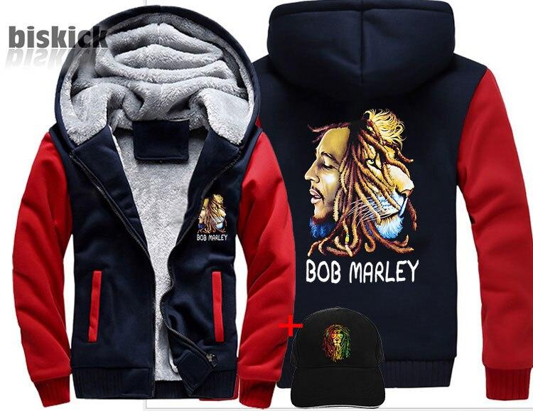 Bob Marley Print Rock Hip Hop Reggae lion Clothing Men women Warm Thick Coat Jacket  winter warm velvet Sweatshirt  top Hoodies-in Hoodies & Sweatshirts from Men's Clothing    1