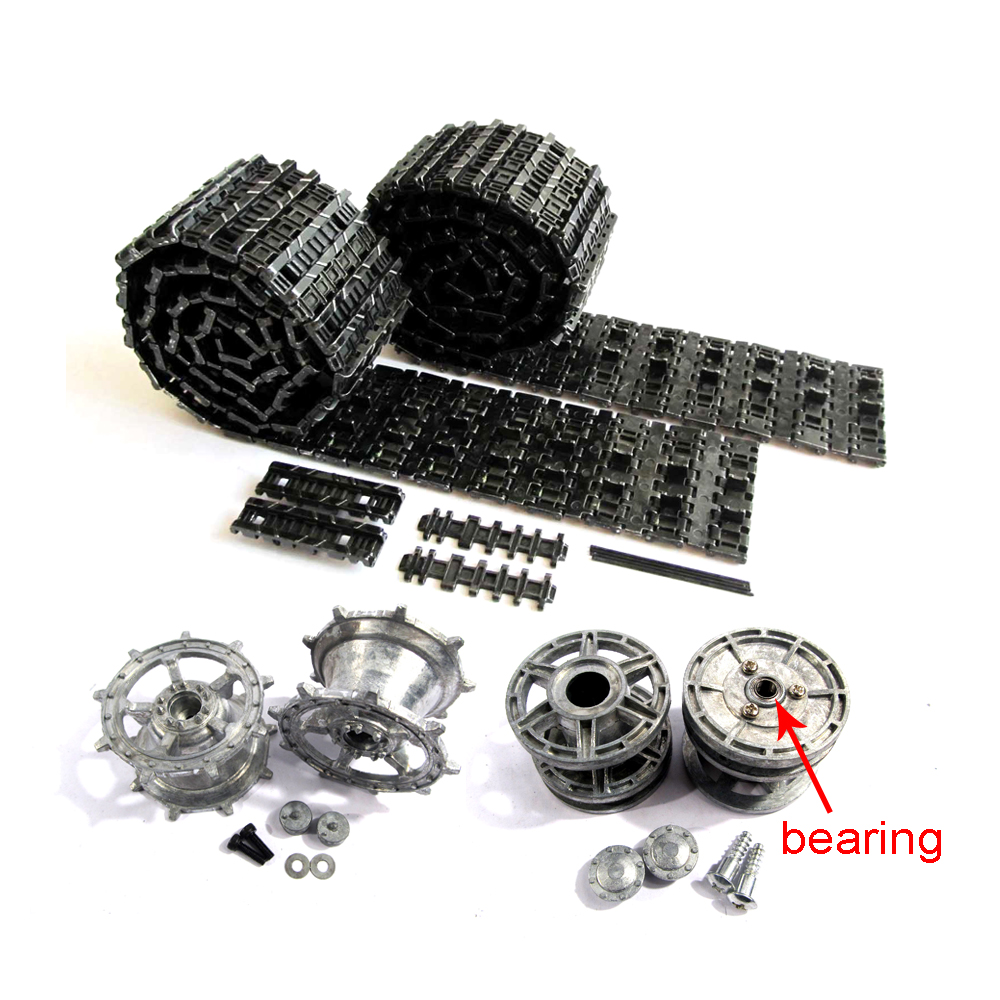 Mato King Tiger Metal Tracks sprockets driving wheels idlers set for Heng Long 3888-1 3888A-1 1 16 RC Kingtiger tank bearings mato sherman tracks 1 16 1 16 t74 metal tracks