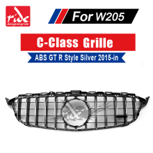 For MercedesMB W205 GT R Style Sport Front Grills ABS Silver Without sign C-Class c180 c200 C250 without Camera Grille 15+