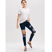 Fashion Women Jeans Street Style Brushed Hole Scratched Female Slim Long