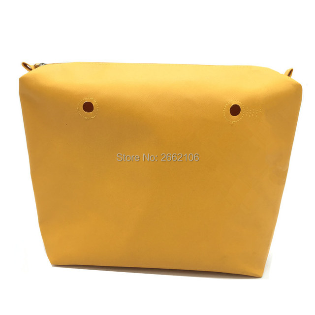 yellow color pu leather inserts for obag