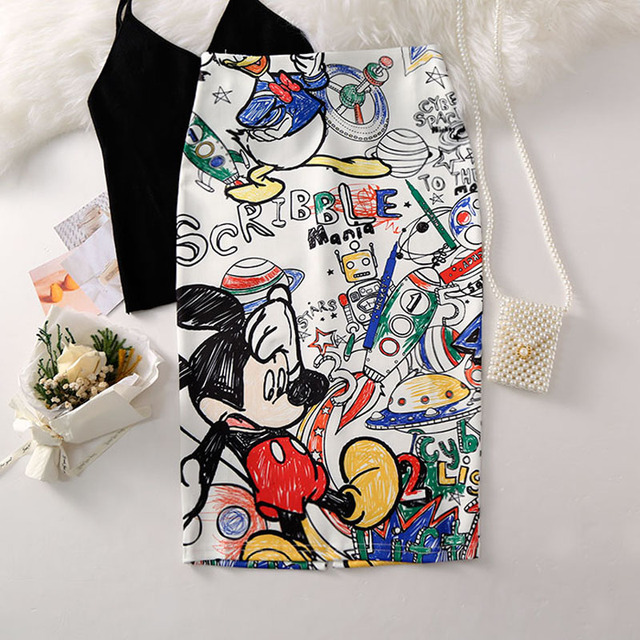 Women's Pencil skirt 2019 New Cartoon Mouse Print High Waist Slim Skirts Young Girl Summer Large Size Japan Female Falda SP534 2
