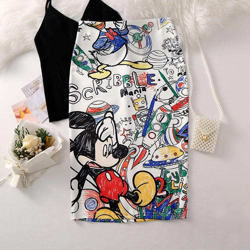 Cartoon Mouse Print High Waist Slim Skirts Young Girl 3