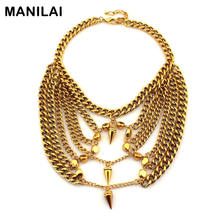 MANILAI Fashion Accessories Punk Design 310 Grams Heavy Exaggerate Chains Bib Statement Necklaces For Women Brand Jewelry CE2492(China)