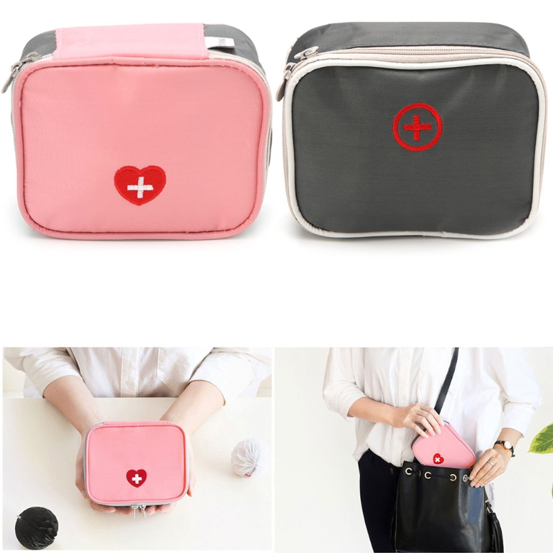 THINKTHENDO Portable Mini Travel Multi-Purpose Use Cosmetic Bag Home Survival First Aid Medical Emergency Bag Kit portable military first aid kit empty bag bug out bag water resistant for hiking travel home car emergency treatment ifak