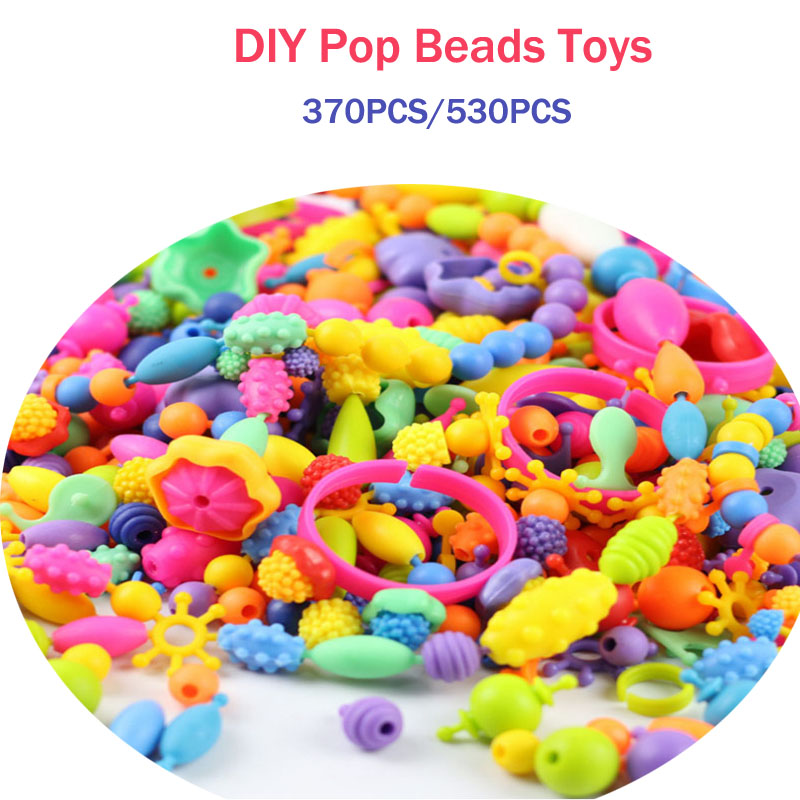 LWKO Pop Beads Toys Creativel Arts And Crafts Bracelet Snap Together Jewelry Fashion Kit Educational Toys Kids For Children Gift