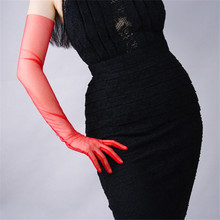 Mesh Gloves Lace Ultra-Thin Long Style Womens Deep Red Touchscreen Evening Vestido Female Mittens TB31-2