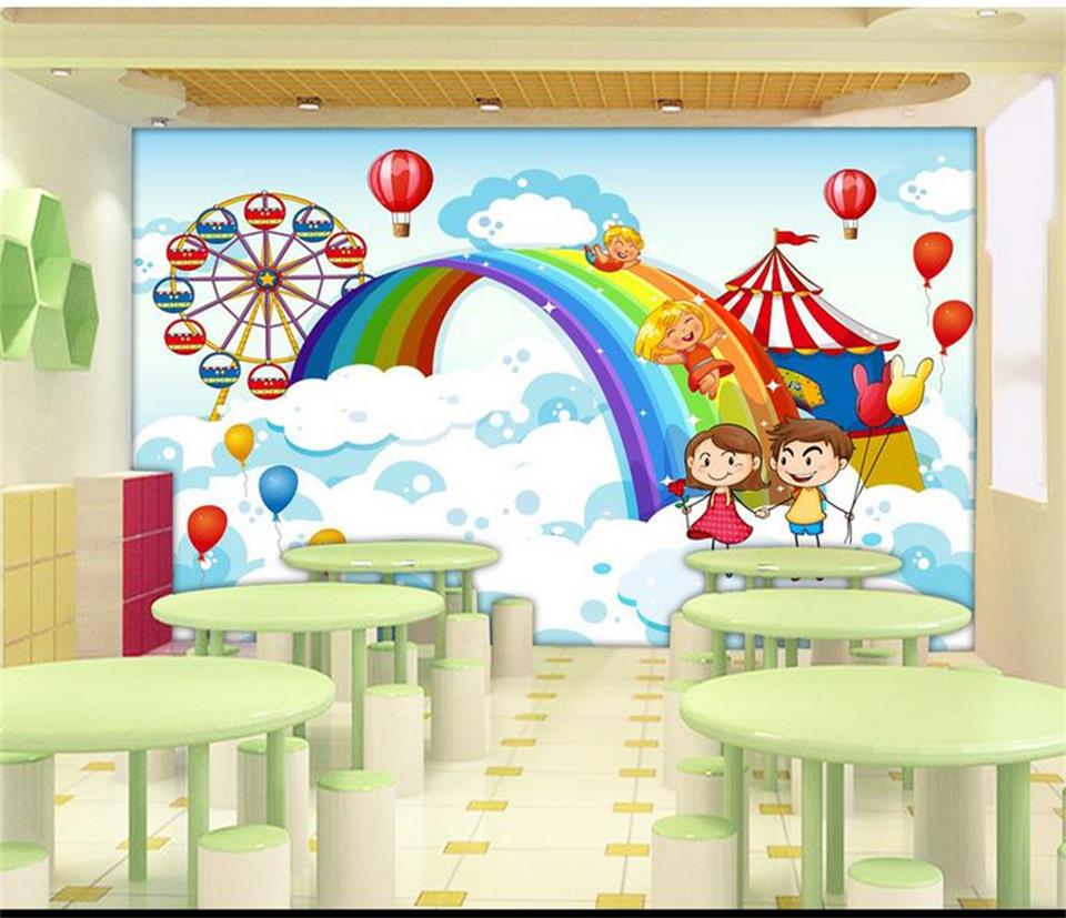 online get cheap kids wall murals rainbows aliexpress com 3d wallpaper photo wallpaper custom mural kids room cartoon cloud rainbow 3d painting sofa tv background wallpaper for walls 3d