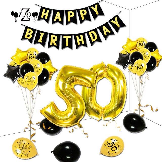 Zljq 48 Stks 50 Jaar Birthday Ballon Banner Set Gelukkig Verjaardag