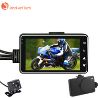 SmallAntTech DVR Motorcycle Dash Camera Mini Full HD 720P Waterproof Dual Cameras Video 3 Inch Black