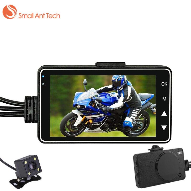 Smallanttech DVR мотоцикл тире Камера Мини Full HD 720 P Водонепроницаемый двойной Камера S-Video 3 дюймов черный ящик Регистраторы даш DVR Cam