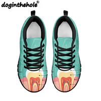 THIKIN Women Fashion Shoes Flats For Female 2018 Spring Dentist Diagram Printing Sneakers High Quality Footwear Zapatos Mujer