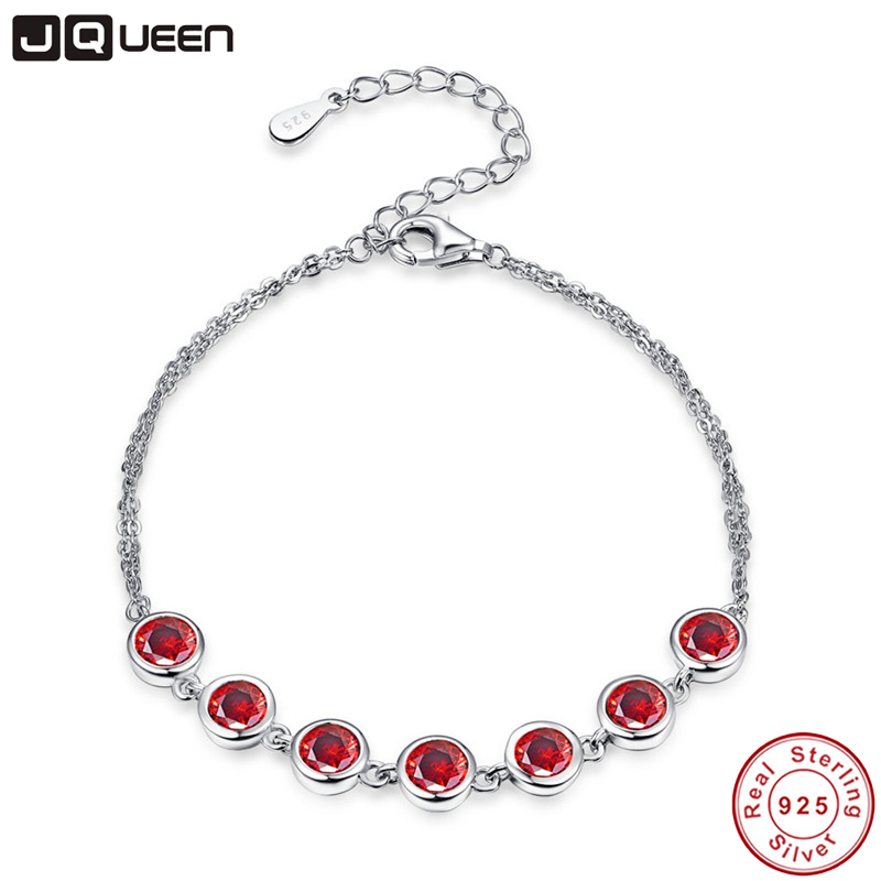 JQUEEN Hight Quality Red Garnet 925 Sterling Silver Jewelry For Women Adjustable Link Chain Bracelet Length