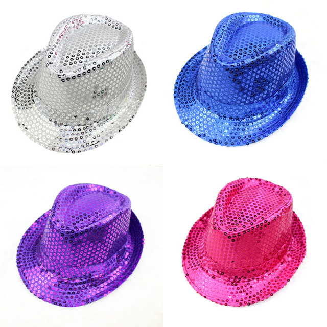 7c5d5a2dbf6f6 Unisex Men Women Fashion Sequined Shiny Fedora Jazz Hats Casual Solid  Outdoor Performance Caps Glitter Bucket Sun Hat Festival