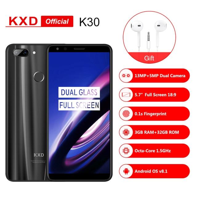 KXD K30 5.7 inch Smartphone Dual Glass 18:9 HD+ Full Screen Andriod8.0 MTK6750 Octa Core 1.5Ghz 3G RAM 32GB Fingerprint 4G Phone