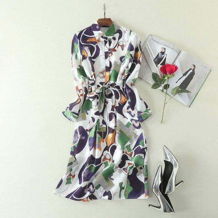 Mifairy Top Runway Dress 2017 Bohemian Turn-down Collar Ribbon Print Slim Dress Long Sleeves Women dress Vestidos De Festa 72907