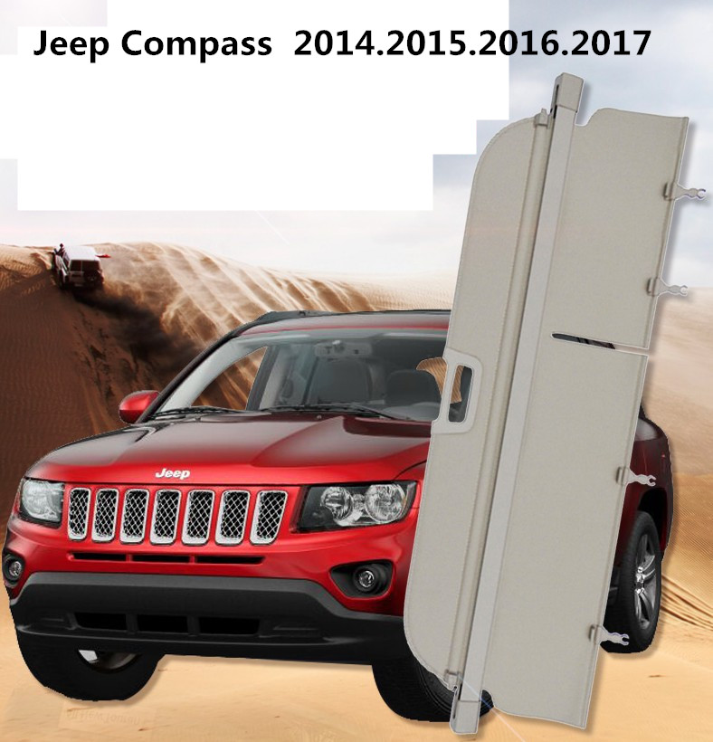Car Rear Trunk Security Shield Cargo Cover For Jeep Compass 2014.2015.2016.2017 High Qualit Auto Accessories car rear trunk security shield cargo cover for ford everest 2015 2016 2017 high qualit black beige auto accessories