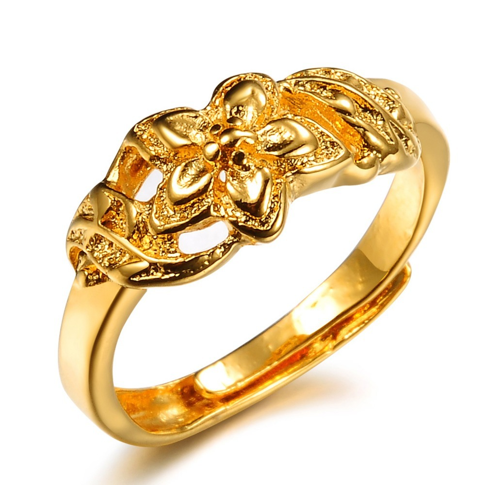 OPK JEWELRY Top Quality wedding ring 18K yellow gold plated flower