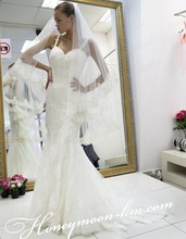 Formal New Fashion Sexy Backless Wedding Dress Fishtail Sweetheart Straps Sweep Train Tulle Bridal Gown With Appliques MF429