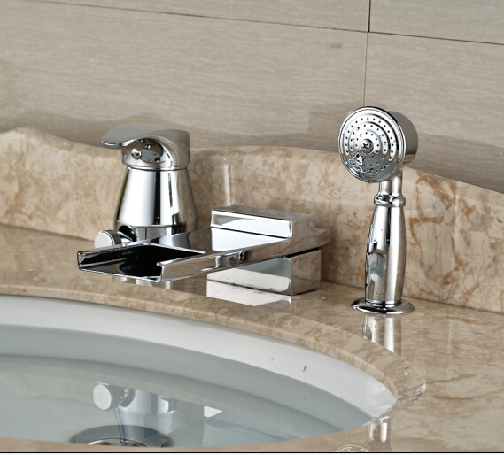 LED Color Chorme Finish Tub Faucet Deck Mounted Shape Tap Hot&Cold Mixer Faucet