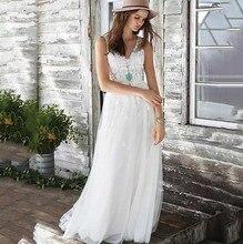 цена на Summer Beach Wedding Dress With Lace Appliques Robe De Mariee 2019 Sexy Backless V Neck Bridal Dresses Boho Wedding Dress