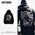 Fleece hoodies Praying hands Hip hop Sweatshirts HEYBIG version Swag Hood Chinese size GOOD Fellas Crew high street Tracksuits