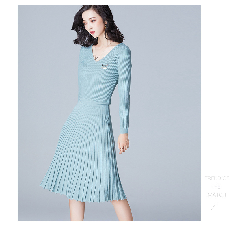 2018 Spring winter women sweater dress knitted female large size women pleated dress office Korean V collar sweater I6217 YYFS