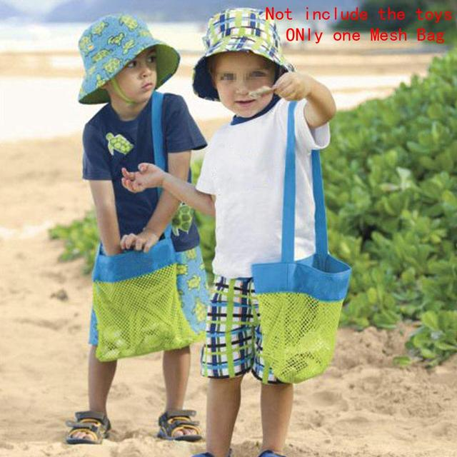 hot selling beach mesh bag children seashell collecting bags toys tote green blue