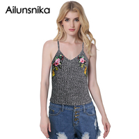 Ailunsnika Summer Women Knitted Embroidery Camisole Sexy Spaghetti Strap Vest Crop Tops Camis Casual Gray Tank
