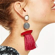 цены L&H Bohemia Handmade Tassel Earrings Vintage Long Statement Imitation Pearl Stripe Ball Drop Earrings For Women Fashion Jewelry
