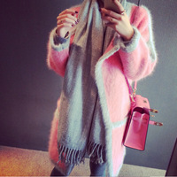 Fashion Trends Autumn Winter Mink Cashmere Sweater Wome Cardigan Ladies Knitted Christmas Sweater Poncho Coat Female