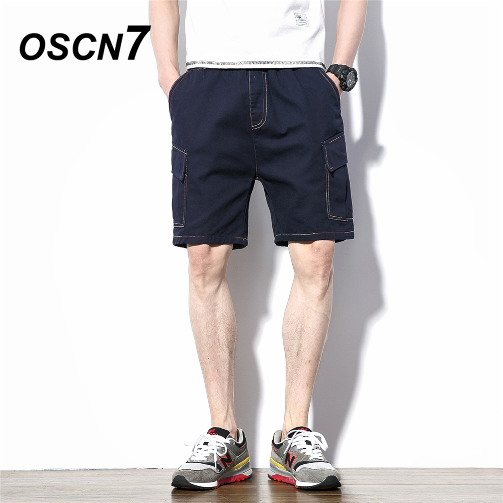 OSCN7 Loose Casual Mens Shorts Solid Plus Size Leisure Summer Shorts Men Fashion 2018 New Harem Short K19