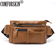 COMFORSKIN Money Phone Belt Men Multi-functional Travel Pouch Bags Genuine Leather Vintage Messenger Bag Hip Bum Waist Pack