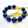 Vintage Classic Natural Stone Jewelry Elegant Noble Dark Blue Sapphires  Beaded Chain Bracelet  22cm