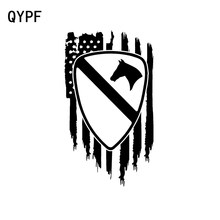 QYPF 9CM*16CM American flag US Army 1st Cavalry Division First Team Vinyl Car Sticker Decal Black/Silver Accessories C15-0494(China)