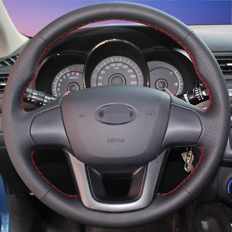 Hand stitched Black Leather Steering Wheel Cover for Kia K2 Kia Rio 2011 2013