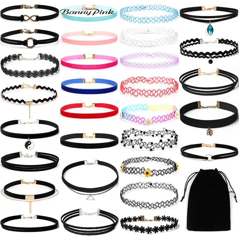 Banny Pink 30 Pieces/Set Rope Chain Choker Necklace For Wome