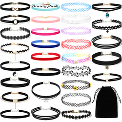 Banny Pink 30 Pieces/Set Rope Chain Choker Necklace For Women Gift New Punk Pendant Choker Collar Fashion Jewelry Colliers Colar