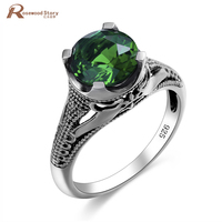 Nail Patriots Ring Cushion Boho Handmade Green Stone Crystal Wedding Rings for Women 925 Sterling Silver Mood Jewelry