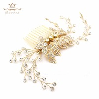 Bavoen Handmade European Gold Leaves Hair Combs Nature Pearls Hairbands Wedding Dress Hair Accessories